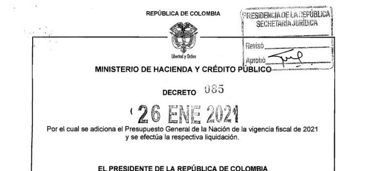 DECRETO 085 DEL 26 DE ENERO DE 2021