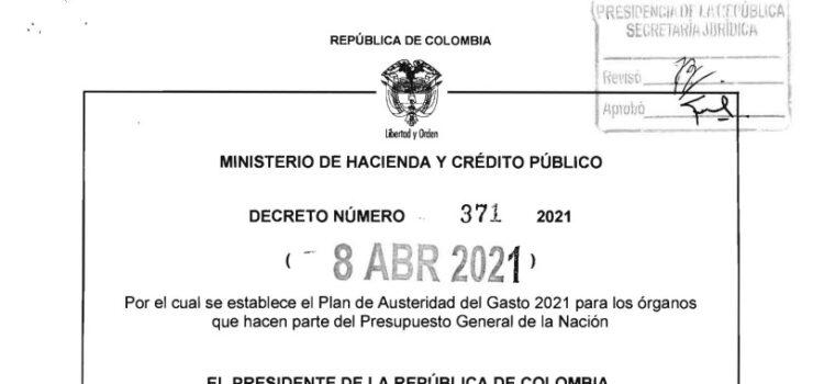 Decreto 371 del 8 de abril de 2021