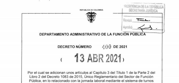 Decreto 400 del 13 de abril de 2021