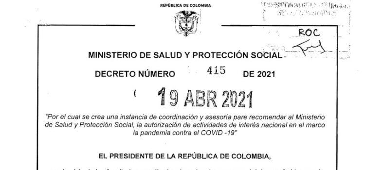 Decreto 415 del 19 de abril de 2021