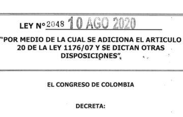LEY 2048 DEL 10 DE AGOSTO DE 2020