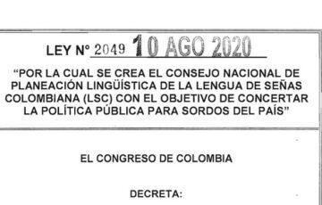 LEY 2049 DEL 10 DE AGOSTO DE 2020