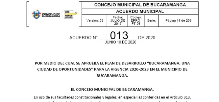 Bucaramanga_Plan de Desarrollo Municipal_2020-2023