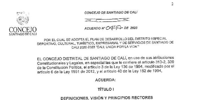 Cali_Plan de Desarrollo Municipal_2020 – 2023