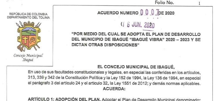 Ibagué_Plan de Desarrollo Municipal_2020-2023