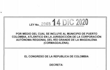 LEY 2065 DEL 14 DE DICIEMBRE DE 2020