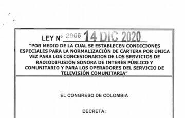 LEY 2066 DEL 14 DE DICIEMBRE DE 2020