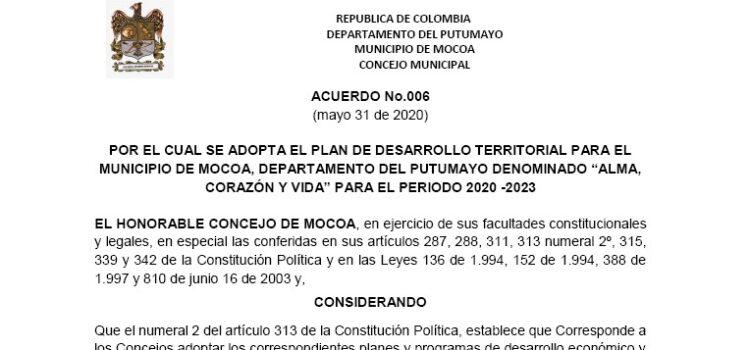 Mocoa_Plan de Desarrollo Municipal_2020-2023