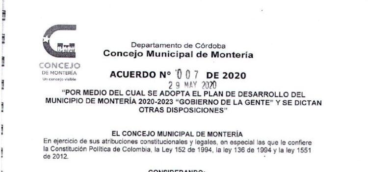 Montería_Plan de Desarrollo Municipal_2020-2023