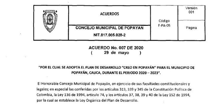 Popayán_Plan de Desarrollo Municipal_2020-2023