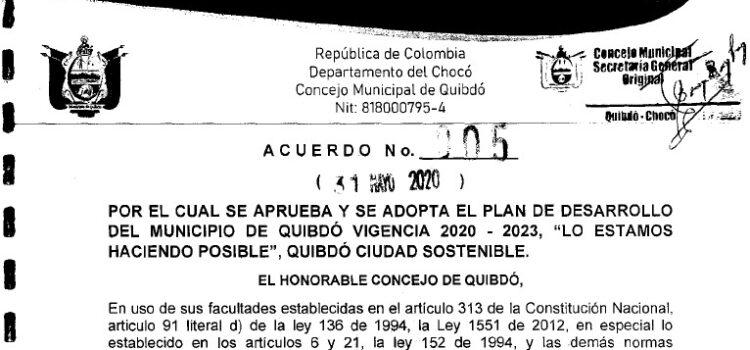 Quibdó_Plan de Desarrollo Municipal_2020-2023