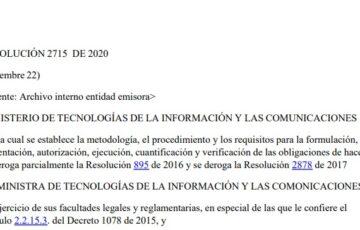 RESOLUCIÓN MINTIC 2715 DE 2020