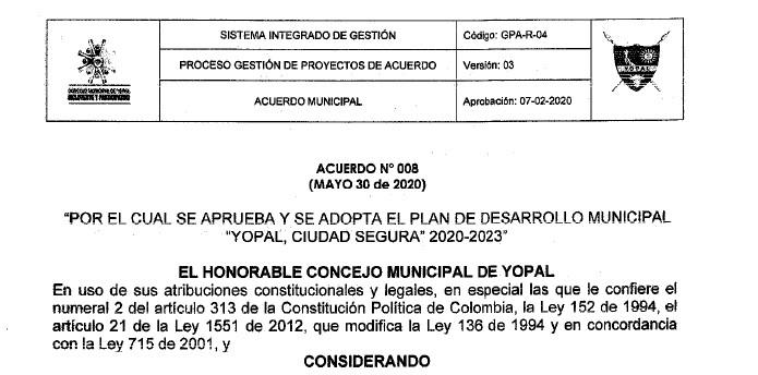 Yopal_Plan de Desarrollo Municipal_2020-2023
