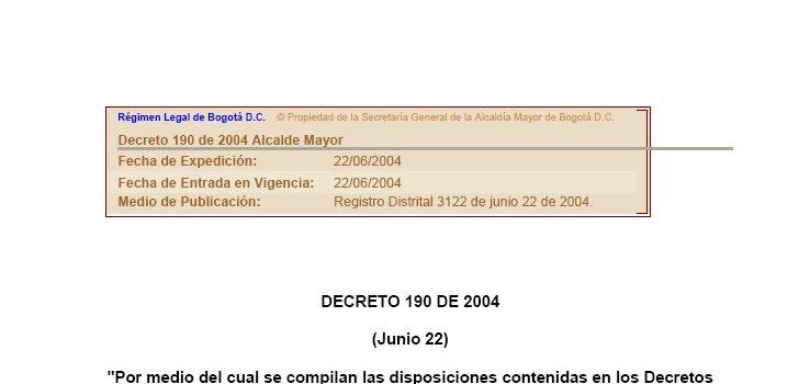 Bogotá_Decreto190_POT_2004