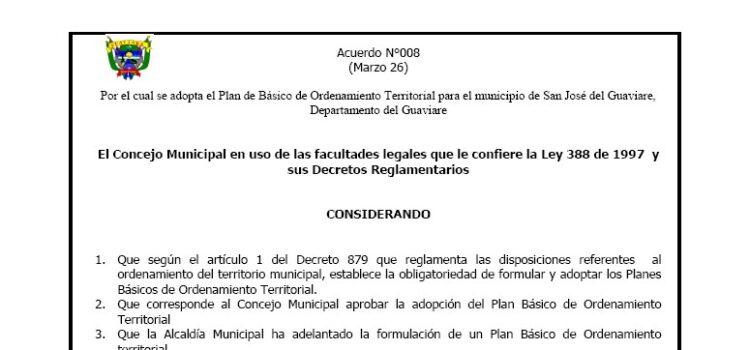 San José del Guaviare_Acuerdo008_PBOT_2001