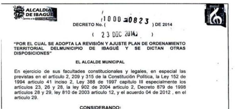 Ibagué_Decreto823_POT_2014