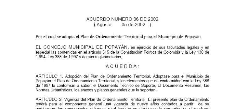 Popayán_Acuerdo06_POT_2002