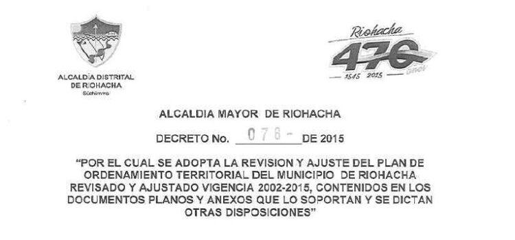 Riohacha_Decreto078_POT_2015