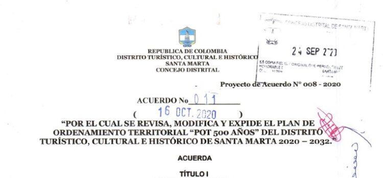 Santa Marta_Acuerdo011_POT_2020