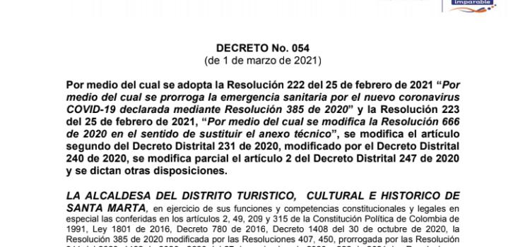 Santa Marta tiene nuevas medidas de protocolos de bioseguridad, en atención a la pandemia Covid-19