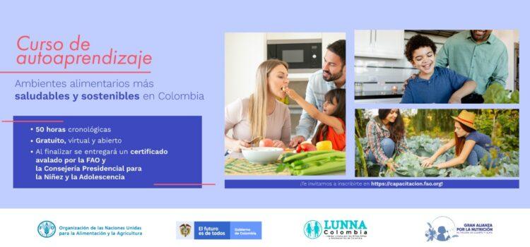 Inscríbase al curso virtual gratuito: Ambientes Alimentarios más saludables y sostenibles en Colombia