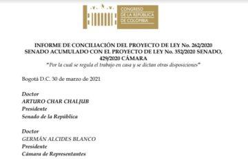 Aprobada conciliación del Proyecto de Ley que regula el trabajo en casa