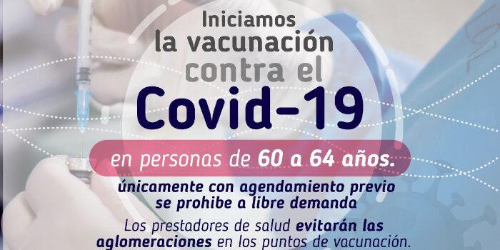 Con agendamiento previo, Pasto inicia vacunación a personas entre 60 a 64 años de edad