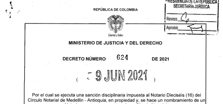 Decreto 624 del 9 de junio de 2021