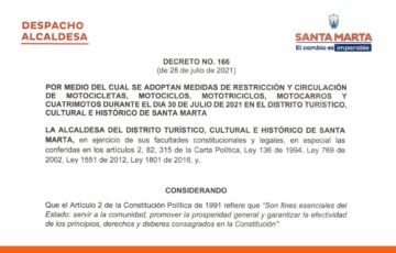 Alcaldía adopta medidas de restricción a la circulación de motocicletas en Santa Marta
