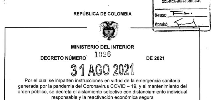 DECRETO 1026 DEL 31 DE AGOSTO DE 2021