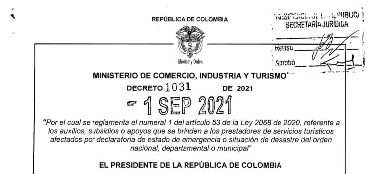 DECRETO 1031 DEL 1 DE SEPTIEMBRE DE 2021
