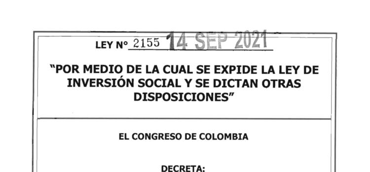 LEY 2155 DEL 14 DE SEPTIEMBRE DE 2021