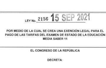 LEY 2156 DEL 15 DE SEPTIEMBRE DE 2021