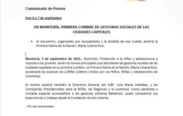 EN MONTERÍA, PRIMERA CUMBRE DE GESTORAS SOCIALES DE LAS CIUDADES CAPITALES